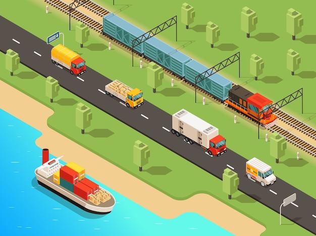 Izometryczna koncepcja transportu logistycznego z ciężarówkami okrętowymi i pociągiem towarowym przewożącym różne towary