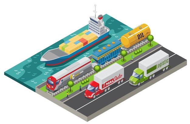 Izometryczna koncepcja transportu logistycznego z pociągiem towarowym i ciężarówkami przewożącymi ładunek na białym tle