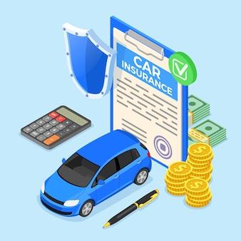 Izometryczna koncepcja ubezpieczenia samochodu na plakat, stronę internetową, reklamę z polisą ubezpieczeniową samochodu, kalkulator, pieniądze i tarczę. odosobniony