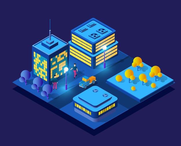 Izometryczna koncepcja ultra miasta w stylu fioletowym, ultrafioletowe 3d nowoczesny projekt miejskiej ulicy wieżowca