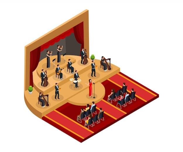 Izometryczna koncepcja wykonania klasycznej opery z piosenkarką i muzykami na scenie przed publicznością na białym tle