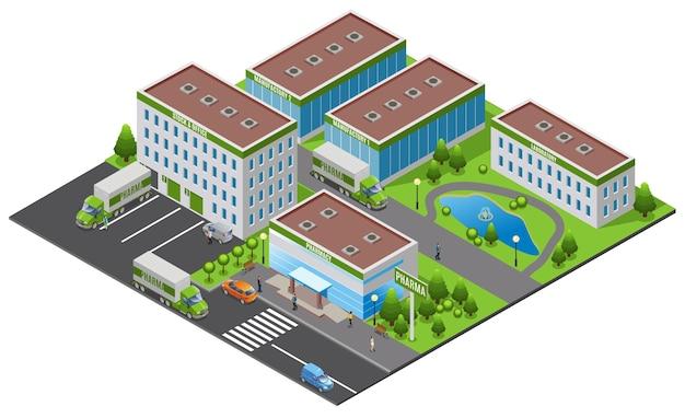 Izometryczna koncepcja zakładu farmaceutycznego z biurowym laboratorium laboratorium apteka budynki ciężarówki ludzie drzewa woda staw na białym tle