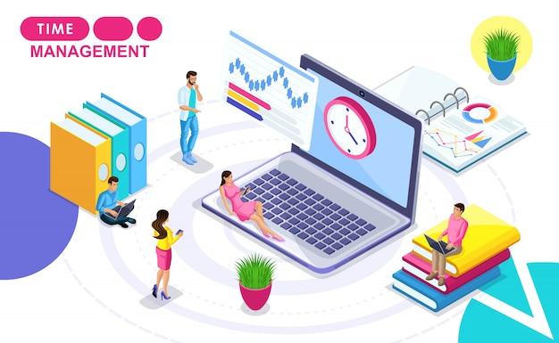 Izometryczna koncepcja zarządzania czasem. izometryczni ludzie w ruchu, opracowujący plan pracy, godziny. koncepcje banerów internetowych i materiałów drukowanych