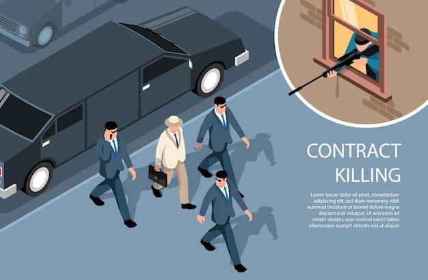 Izometryczna kryminalna pozioma ilustracja z obrazami snajpera strzelającego do bogatego dżentelmena w otoczeniu ochroniarzy
