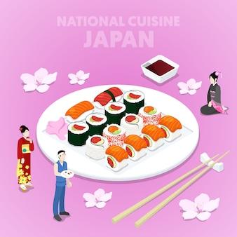 Izometryczna kuchnia narodowa japonii z sushi i japończykami w tradycyjnych strojach. płaskie ilustracji wektorowych