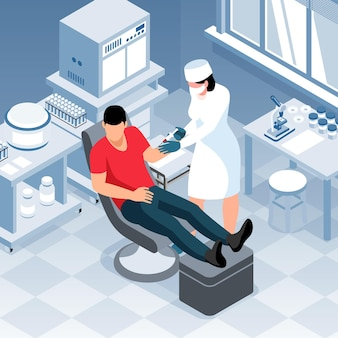 Izometryczna laboratoryjna kompozycja diagnostyczna scenerii wewnętrznej ze sprzętem laboratoryjnym i pacjentem z lekarzem wykonującym zastrzyk