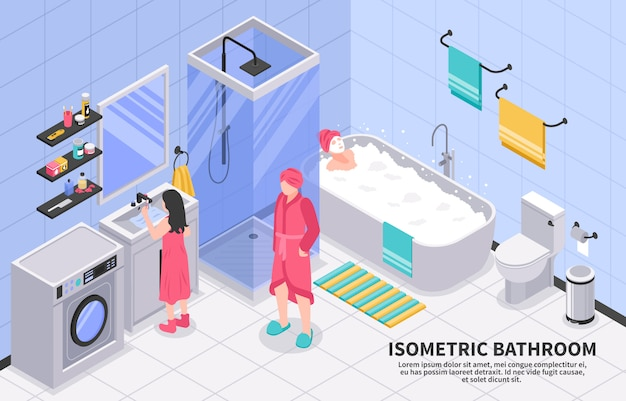 Izometryczna łazienka rodzinna