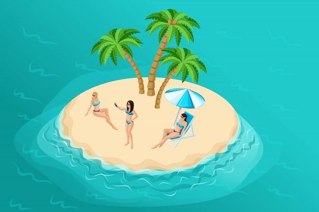 Izometryczna letnia ilustracja z rajską wyspą dla biura podróży, reklamującego wakacje z opalonymi dziewczynami w jasnych strojach kąpielowych i robienia selfie