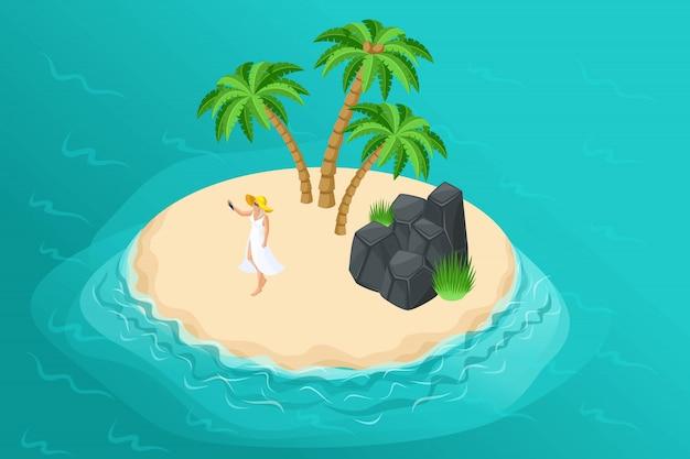 Izometryczna letnia ilustracja z rajską wyspą dla biura podróży, wakacyjna reklama z dziewczyną na spokojnej dzikiej wyspie z palmami i skałami