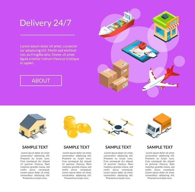 Izometryczna logistyka i dostawa ikony szablon strony docelowej ilustracja. dystrybucja dostaw, samolot i statek