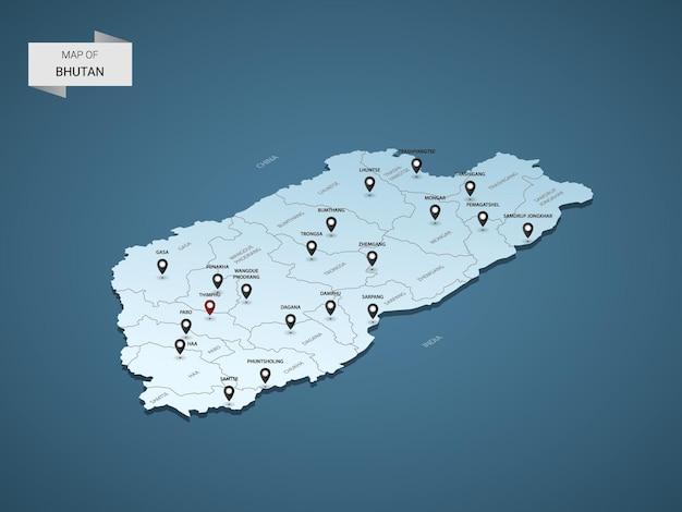 Izometryczna mapa 3d bhutanu, ilustracja z miastami, granicami, stolicą, podziałami administracyjnymi i znakami wskaźnika