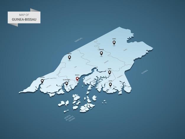 Izometryczna mapa 3d gwinei bissau, ilustracja z miastami, granicami, stolicą, podziałami administracyjnymi i znakami wskaźnika