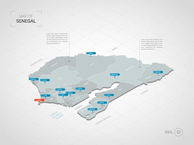 Izometryczna mapa 3d senegalu.