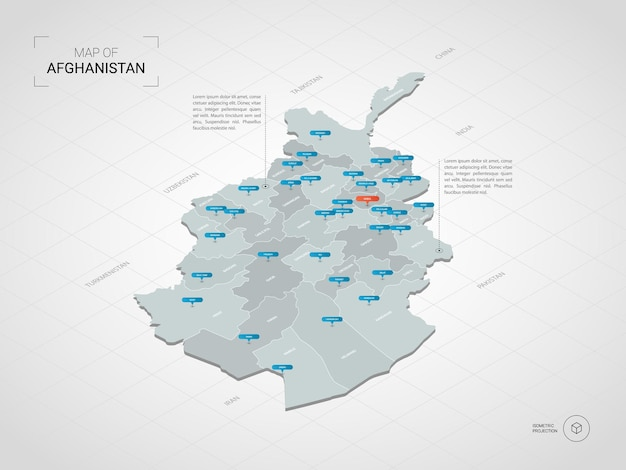 Izometryczna mapa afganistanu.