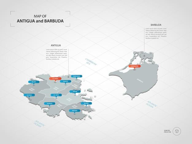 Izometryczna mapa antigua i barbuda.