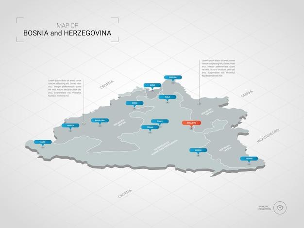 Izometryczna mapa bośni i hercegowiny. stylizowana ilustracja mapy z miastami, granicami, stolicą, podziałami administracyjnymi i znakami wskaźnika; gradientowe tło z siatką.