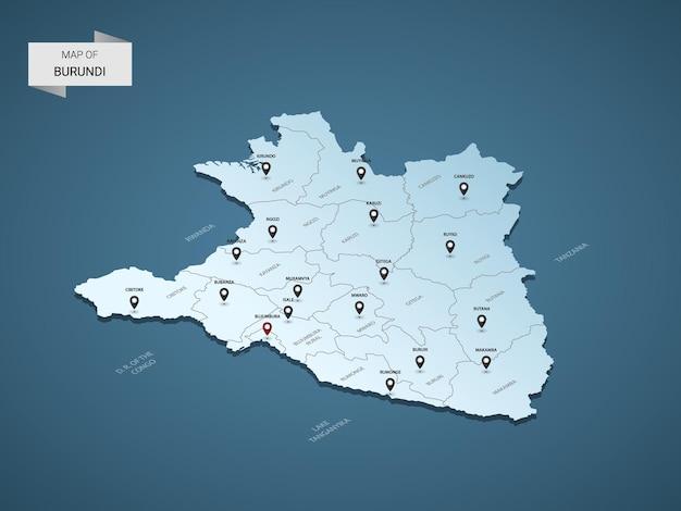 Izometryczna mapa burundi 3d, ilustracja z miastami, granicami, stolicą, podziałami administracyjnymi i znakami wskaźnika
