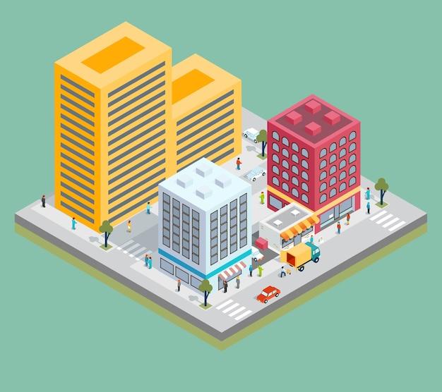 Izometryczna mapa centrum miasta z budynkami, sklepami i drogami.