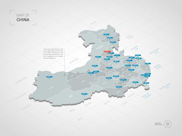 Izometryczna mapa chin. stylizowana ilustracja mapy z miastami, granicami, stolicą, podziałami administracyjnymi i znakami wskaźnika; gradientowe tło z siatką.