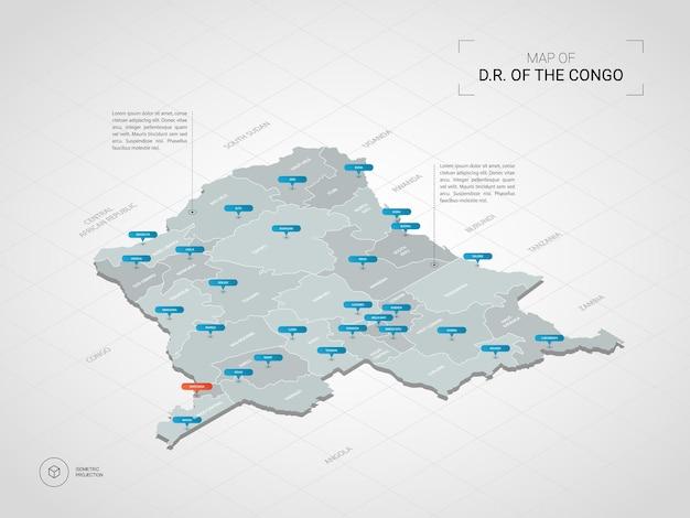 Izometryczna mapa demokratycznej republiki konga. stylizowana ilustracja mapy z miastami, granicami, stolicą, podziałami administracyjnymi i znakami wskaźnika; gradientowe tło z siatką.