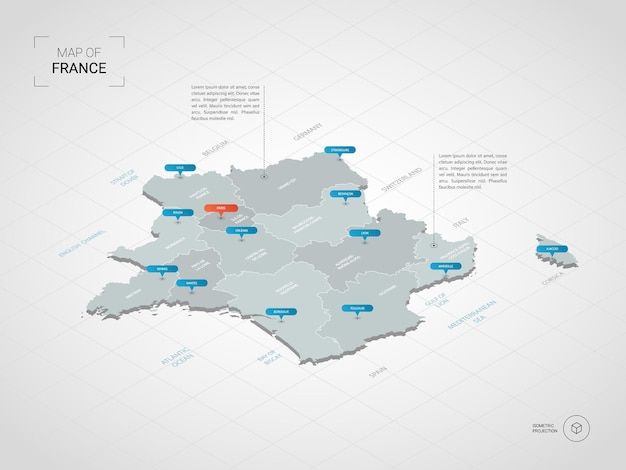Izometryczna mapa francji 3d.