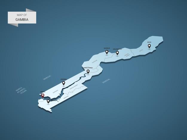 Izometryczna mapa gambii 3d, ilustracja z miastami, granicami, stolicą, podziałami administracyjnymi i znakami wskaźnika