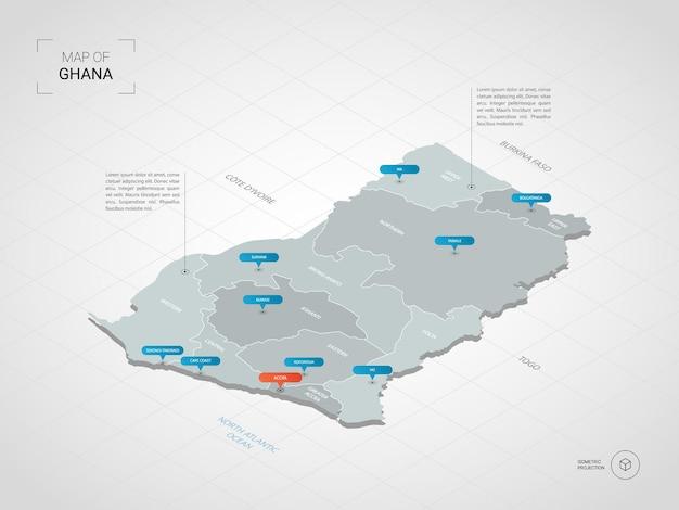 Izometryczna mapa ghany. stylizowana ilustracja mapy z miastami, granicami, stolicą, podziałami administracyjnymi i wskaźnikiem oznacza tło gradientowe z siatką.