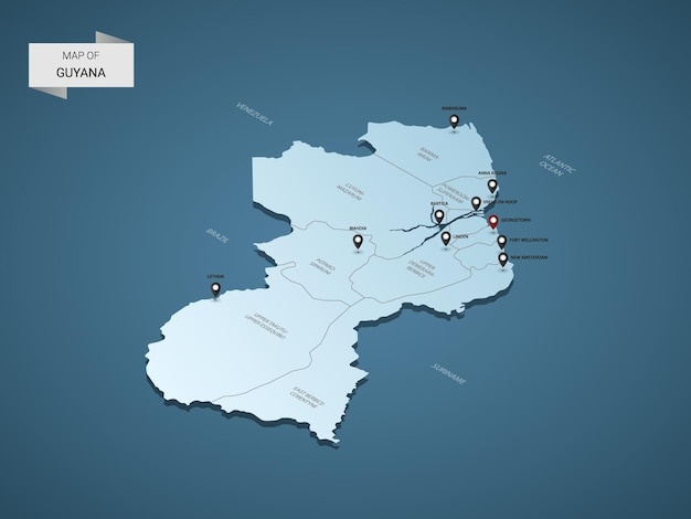 Izometryczna mapa gujany 3d, ilustracja z miastami, granicami, stolicą, podziałami administracyjnymi i znakami wskaźnika