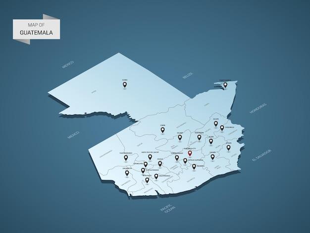 Izometryczna mapa gwatemali 3d, ilustracja z miastami, granicami, stolicą, podziałami administracyjnymi i znakami wskaźnika
