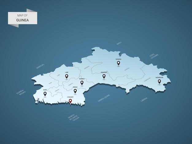 Izometryczna mapa gwinei 3d, ilustracja z miastami, granicami, stolicą, podziałami administracyjnymi i znakami wskaźnika