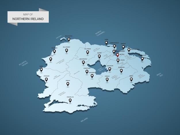 Izometryczna mapa irlandii północnej w 3d, ilustracja z miastami, granicami, stolicą, podziałami administracyjnymi i znakami wskaźnika