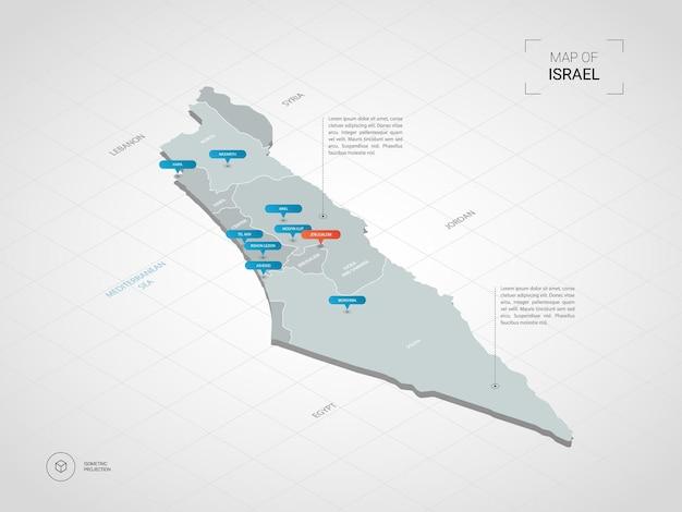 Izometryczna mapa izraela. stylizowana ilustracja mapy z miastami, granicami, stolicą, podziałami administracyjnymi i znakami wskaźnika; gradientowe tło z siatką.