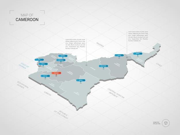 Izometryczna mapa kamerunu. stylizowana ilustracja mapy z miastami, granicami, stolicą, podziałami administracyjnymi i znakami wskaźnika; gradientowe tło z siatką.