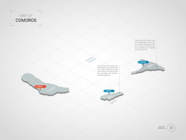 Izometryczna mapa komorów. stylizowana ilustracja mapy z miastami, granicami, stolicą, podziałami administracyjnymi i znakami wskaźnika; gradientowe tło z siatką.