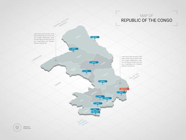 Izometryczna mapa konga. stylizowana ilustracja mapy z miastami, granicami, stolicą, podziałami administracyjnymi i znakami wskaźnika; gradientowe tło z siatką.