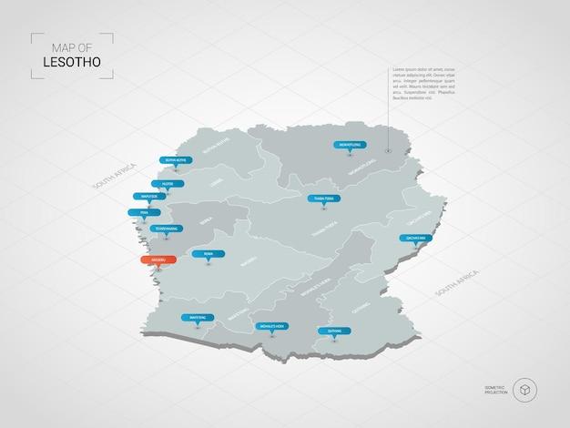 Izometryczna mapa lesotho. stylizowana ilustracja mapy z miastami, granicami, stolicą, podziałami administracyjnymi i znakami wskaźnika; gradientowe tło z siatką.