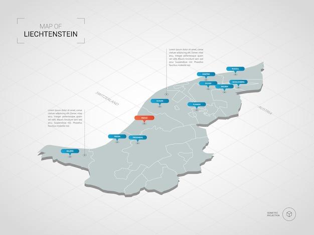Izometryczna mapa liechtensteinu. stylizowana ilustracja mapy z miastami, granicami, stolicą, podziałami administracyjnymi i znakami wskaźnika; gradientowe tło z siatką.