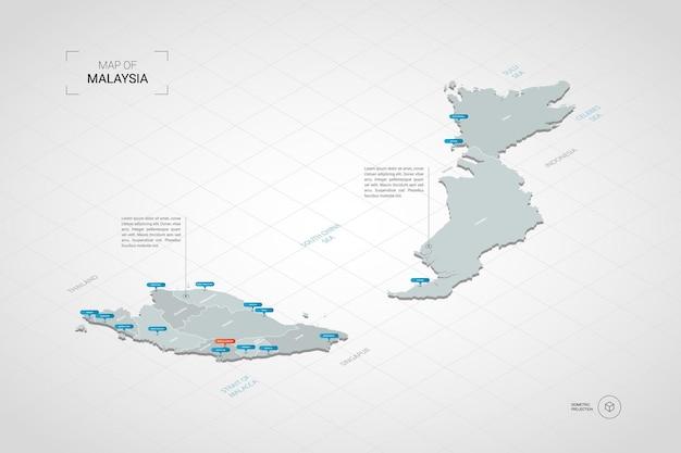 Izometryczna mapa malezji. stylizowana ilustracja mapy z miastami, granicami, stolicą, podziałami administracyjnymi i znakami wskaźnika; gradientowe tło z siatką.