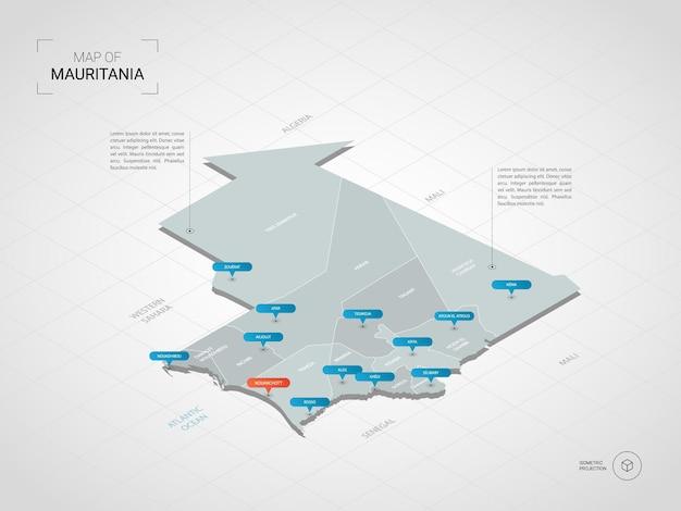 Izometryczna mapa mauretanii. stylizowana ilustracja mapy z miastami, granicami, stolicą, podziałami administracyjnymi i znakami wskaźnika; gradientowe tło z siatką.