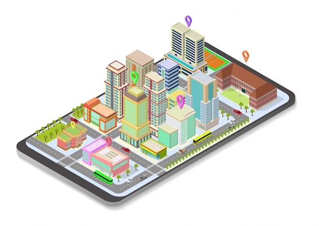 Izometryczna mapa miasta na smartfonie