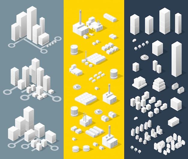Izometryczna mapa miasta, składająca się z miasta drapaczy chmur