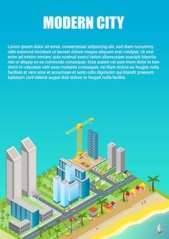 Izometryczna mapa miasta z nowoczesnymi budynkami i plażą