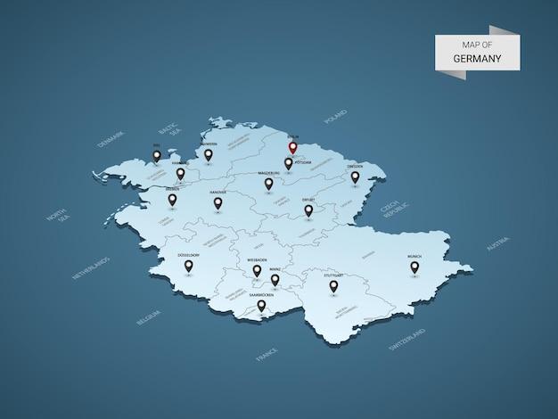 Izometryczna mapa niemiec 3d, ilustracja z miastami, granicami, stolicą, podziałami administracyjnymi i znakami wskaźnika