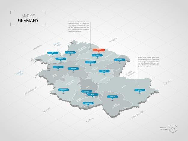 Izometryczna mapa niemiec. stylizowana ilustracja mapy z miastami, granicami, stolicą, podziałami administracyjnymi i znakami wskaźnika; gradientowe tło z siatką.