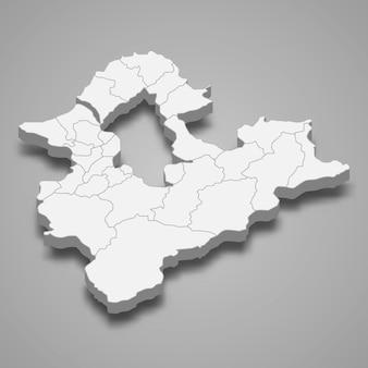 Izometryczna mapa nowego tajpej to region tajwanu