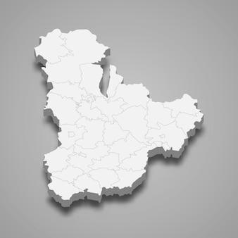 Izometryczna mapa obwodu kijowskiego to region ukrainy