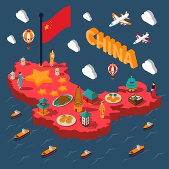 Izometryczna mapa turystyczna chin