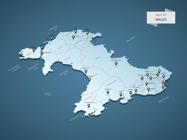 Izometryczna mapa walii 3d, ilustracja z miastami, granicami, stolicą, podziałami administracyjnymi i znakami wskaźnika