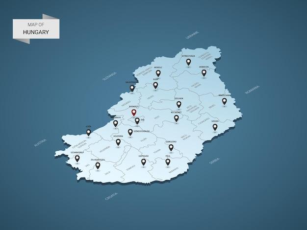 Izometryczna mapa węgier 3d, ilustracja z miastami, granicami, stolicą, podziałami administracyjnymi i znakami wskaźnika