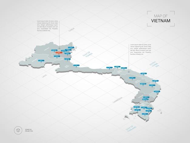 Izometryczna mapa wietnamu. stylizowana ilustracja mapy z miastami, granicami, stolicą, podziałami administracyjnymi i znakami wskaźnika; gradientowe tło z siatką.